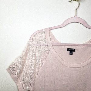 Pale Blush Lace Sleeve Pullover Sweater